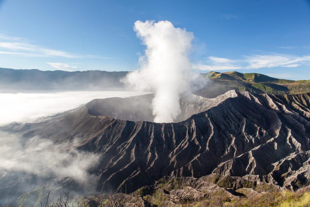 Volcano crater at sunrise