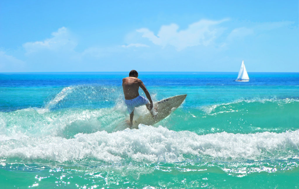 Surfing at Cocoa Beach in Florida